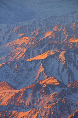 Sunrise over the Andes, taken from flight into Santiago, Chile