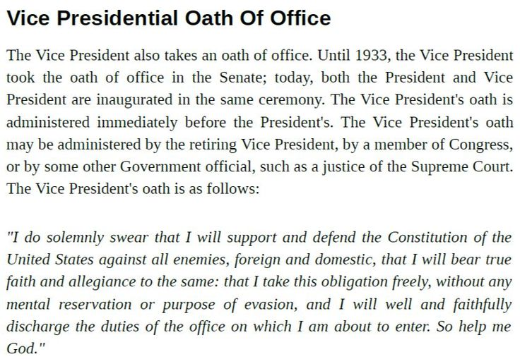 Vice Presidential Oath Of Office