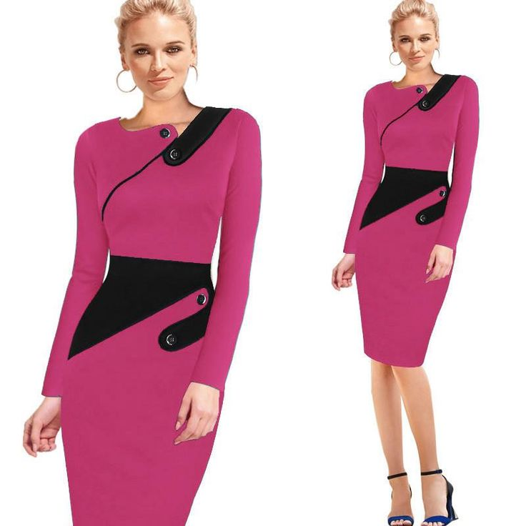 Nice-forever Business Female Pencil Dress Elegant Lady Illusion Patchwork Sheath Buttons Fitted Women