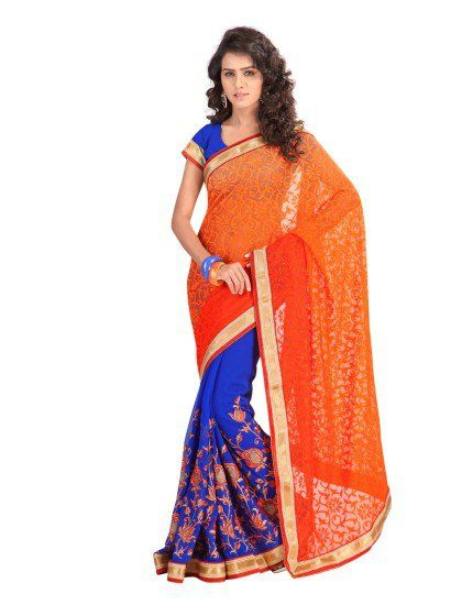 Orange and Blue Cotton Jute Saree with Embroidery Work