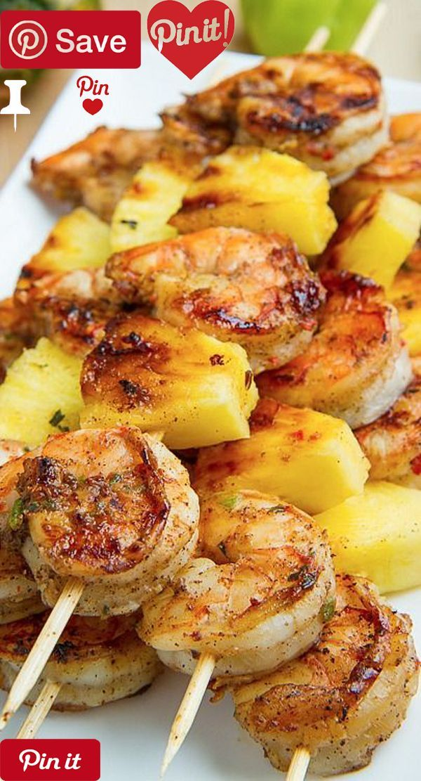Grilled Jerk Shrimp and Pineapple Skewers - Ingredients Meat cup Jerk marinade Produce 2 slices Pineapple Other 1 pound (20-25 or 16-20) shrimp peeled and deveined: