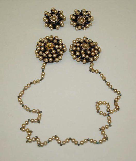 Jewelry set Designer: Miriam Haskell (American, Albany, Indiana 1899–1952 Cincinnati, Ohio) Date: late 1940s–early 1950s Culture: American Medium: beads, pearls, metal The Metropolitan Museum of Art