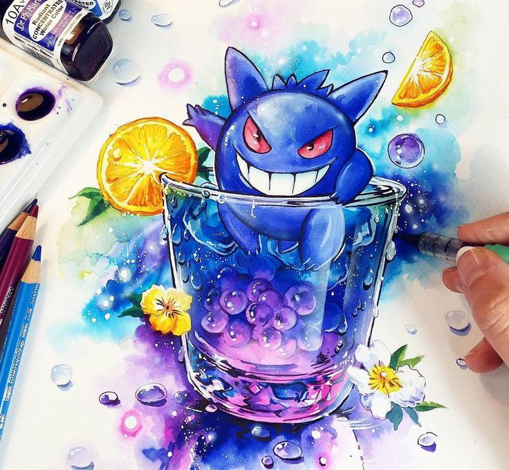 Yoooosh! My newest Pokemon Cocktail creation with Gengar   I love him. He is soooo cool!!! I had so much fun while painting this XD You can get the Original Painting and all my Prints at my St...
