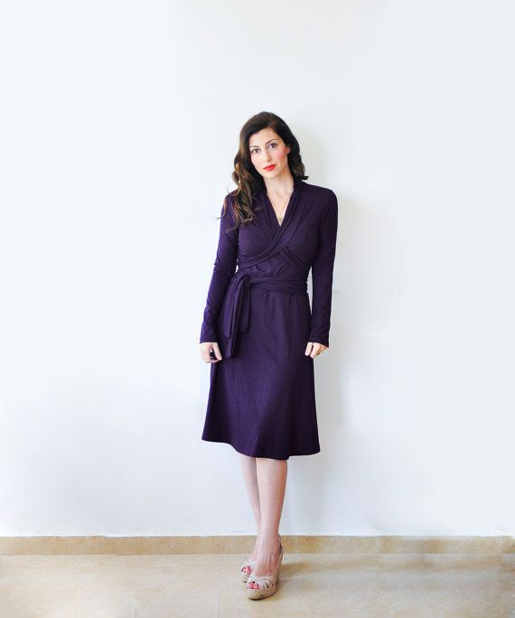 Womens Winter Dress Long Sleeved Wrap Dress Deep Purple by Lirola, $105.00