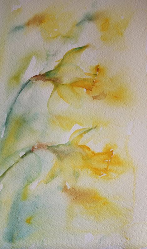 """""""Spring Sunshine"""" Painting daffodils in my garden on St Davids Day 2015. A beautiful way to enjoy the Spring sunshine"""