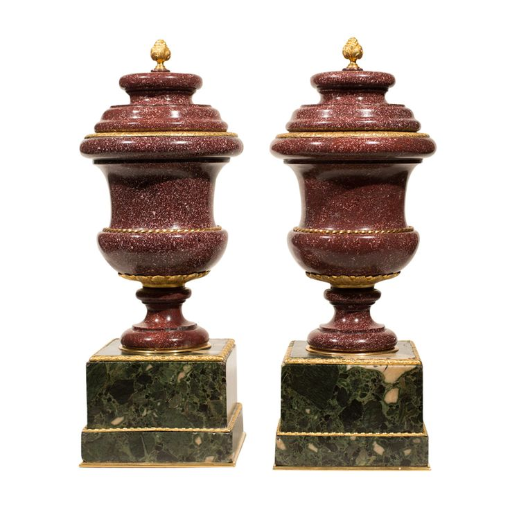 A Pair of ​Porphyry Marble Gilt Bronze Urns on M…