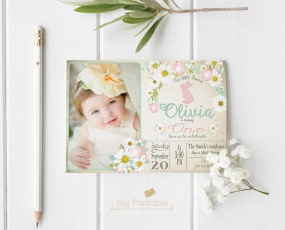 Easter Birthday Invitation Digital Printable Invite For Kids Bunny First Party DIY