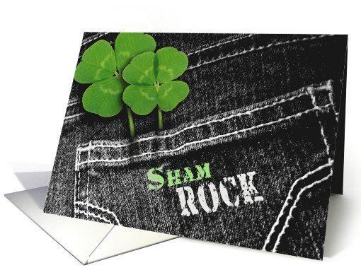 Sham Rock. Denim and Shamrock Design St. Patrick's Day personalized  Cards. at greetingcarduniverse.com