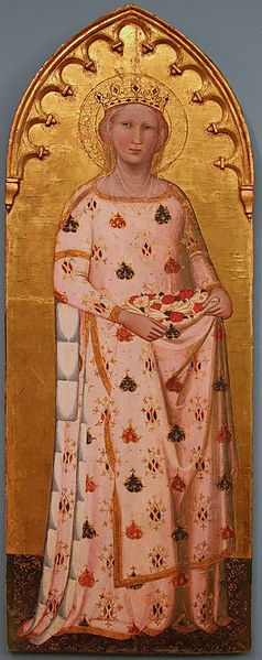 Saint Elizabeth of Hungary ca. 1365. Often pictured with roses, in connection with the story of a particular miracle. Whilst carrying bread to the poor in secret, Elisabeth was stopped and asked what she was carrying under her cloak. (She was susupected of stealing from the treasury) As she released her hold, it appeared to be nothing more than a vision of roses, and she was allowed to proceed.