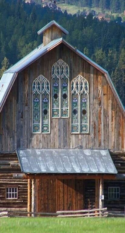 stained glass interesting. roof pitch too steep, gambrel too shallow. reclaimed wood is ok.                                                                                                                                                      More