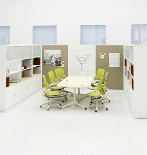Great storage solutions. The large whiteboard and pin boards would be great solutions in a conference room