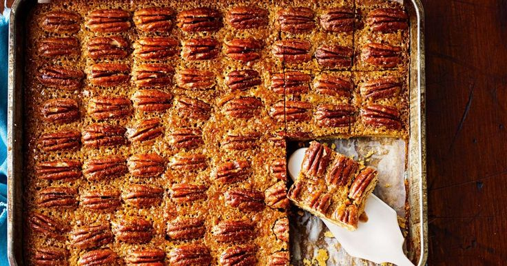 We've turned our favourite pecan pie into a fabulous slice, so you can feed a crowd.