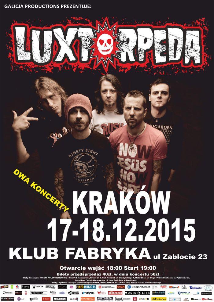 Relacja z koncertu Luxtorpedy w Krakowie (18.12) tutaj: http://heavy-metal-music-and-more.blogspot.com/2015/12/luxtorpeda-zagraa-w-krakowskim-klubie.html
