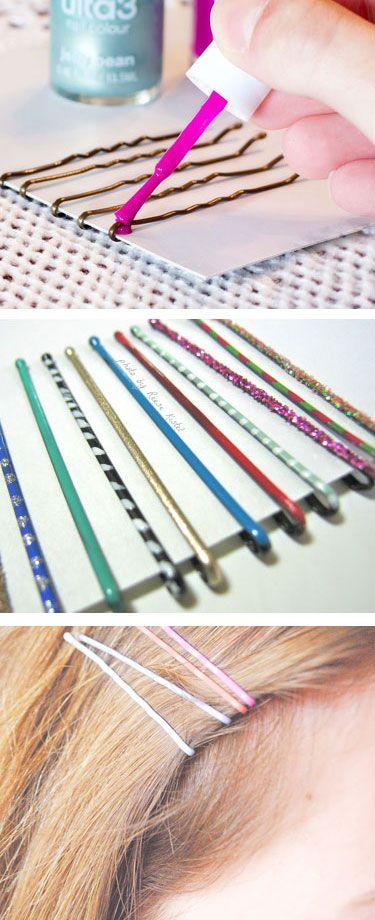 Cute Bobby Pins Colored With Nail Polish