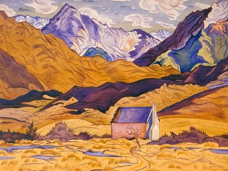 'Mountains, Cass', a watercolor by Rita Angus, 1936
