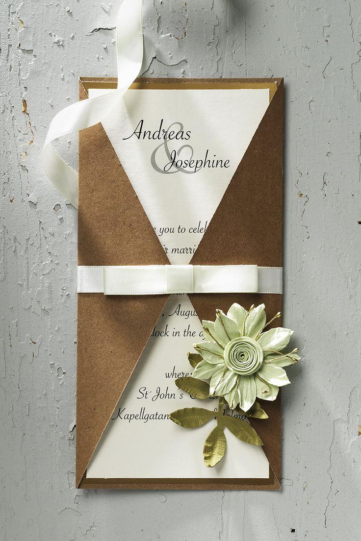 Wedding invitation www.panduro.se #DIY #green #gold #plants #flowers