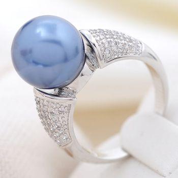 2014 yeni varış romantizm gümüş kaplama moda mavi inci zirkon yüzük, 100% el yapımı bayan düğün veya parti mikro kakma halkası