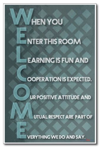 Welcome New Classroom Motivational Poster | eBay