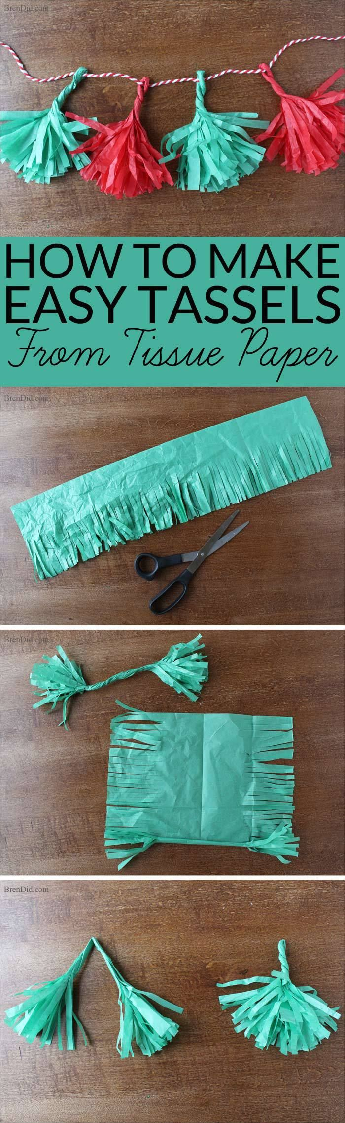 How to Make Tassels from Tissue Paper - Make your own free eco-friendly paper tassels for garlands and gift tie-ons using just tissue…