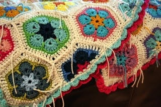 African flower crochet blanket with 1/2 squares and sweet border