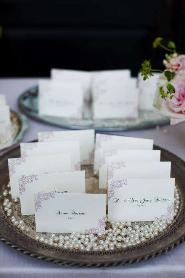 Seat Cards on silver trays, with scattered pearls