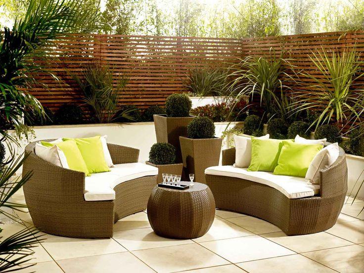 Rattan Garden Moon Sofa With Cushions - Rattan Garden Furniture | Living It Up