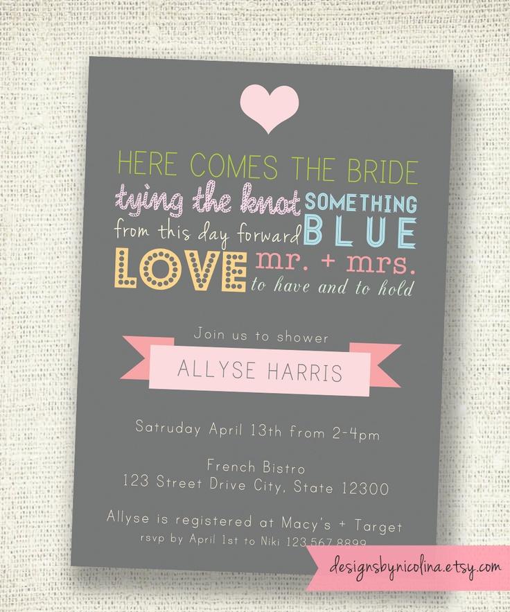 Vintage Typography Poster Style - Bridal Shower PRINTABLE Invitations. $13.50, via Etsy.