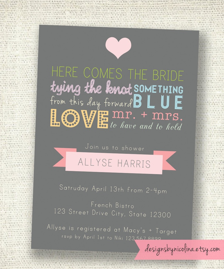 Vintage Typography Poster Style - Bridal Shower PRINTABLE Invitations. $13.50, via Etsy.