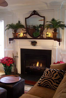 Traditional Tropical Home: Mary Ruth,  fireplace, from our Virginia house, has the holiday over mantel shelf (mahogany shelf over the mantel) for the Xmas holidays