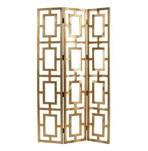 Gilded Hollywood Regency Gold Wood Open Floor Screen   Kathy Kuo Home