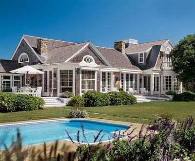 This is the closest I've found to what i want in a home - hamptons style shingle home with a pool and back deck for a table.