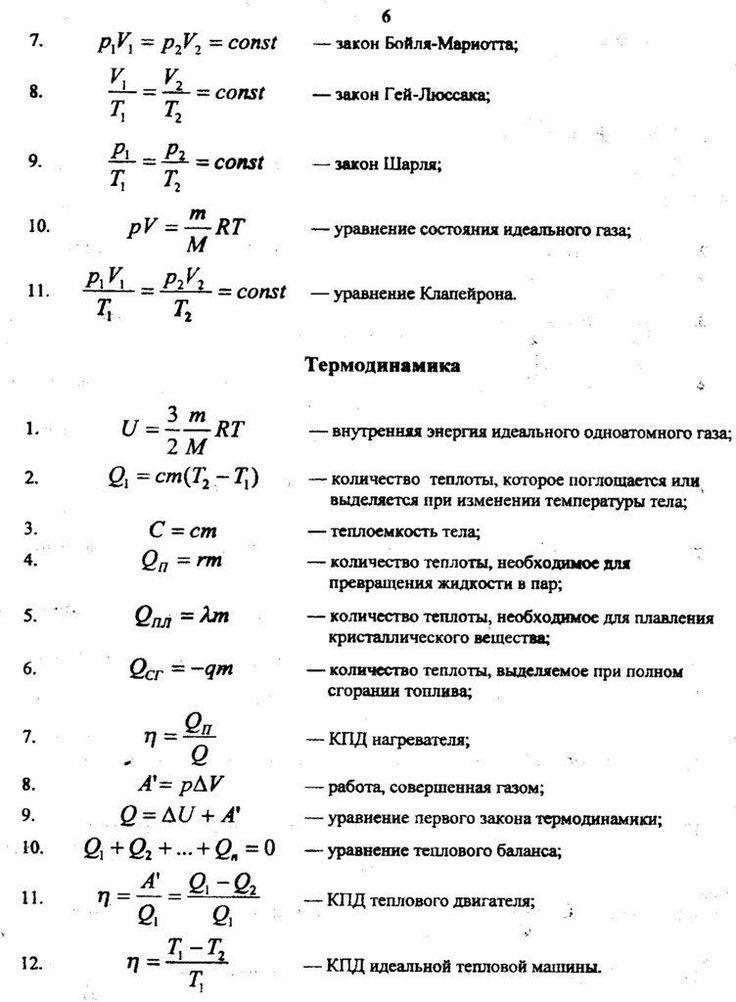 Формулы: Молекулярная физика и Термодинамика