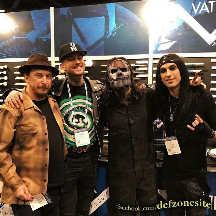 Abe Cunningham (Deftones), Mike Fuentes (Pierce The Veil), Jay Weinberg (Slipknot) & Christian Coma (BlackVeilBrides) Vater Drumstick artists at NAMM Show 2017, Anaheim Convention Center in Anaheim, CA (January 21, 2017). Photo by: Vater Drumsticks (www.vater.com) Shared by: Deftones Zone