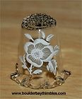 Dainty clear glass thimble with white rose on band & rufled bottom rim