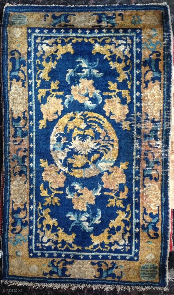 18th Century Small Ningxia Rug With Beautiful Colors Nice Condition For This Age