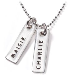 These stylishly simple Name Tags are all the rage. Custom-stamped with the name or nickname of your child and hung on a stylish sterling silver snake chain or ball chain – Smallprint Name Tags make a wonderful gift