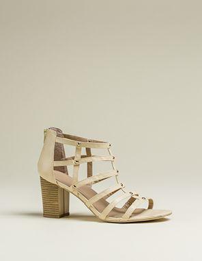 Caged multi-strap heel
