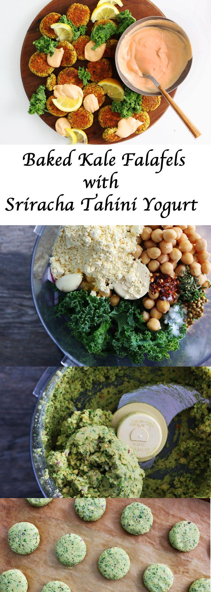 #appetizer #snack #healthysnack #dinner #lunch #lunchbox #pita #falafel #kale #bakedfalafel #healthy #kalefalafel #greekyogurt #sriracha #tahini #cleaneating #eatclean http://www.kitchenathoskins.com/2017/03/21/baked-kale-falafels-with-sriracha-tahini-yogurt/