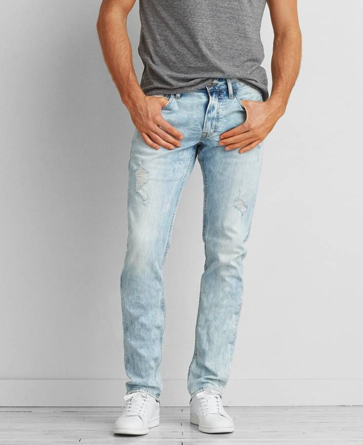 AEO Slim Core Flex Jeans, Men's, Light Destroy Wash