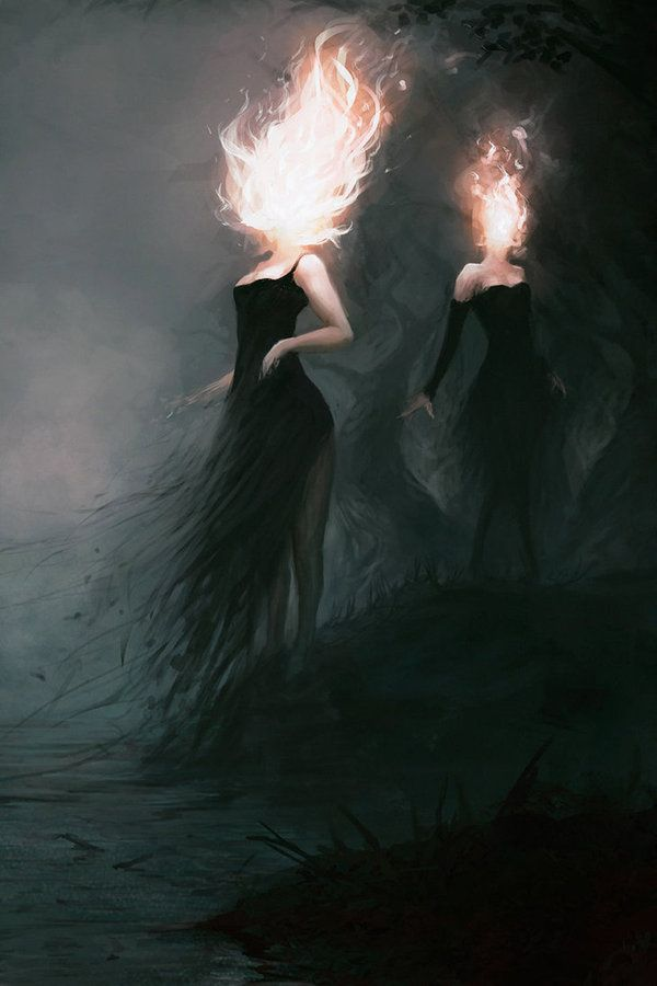 Горячие Головы арт, девушки, факел, фентези