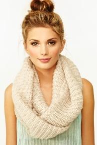 ballerina bun + infinity scarf