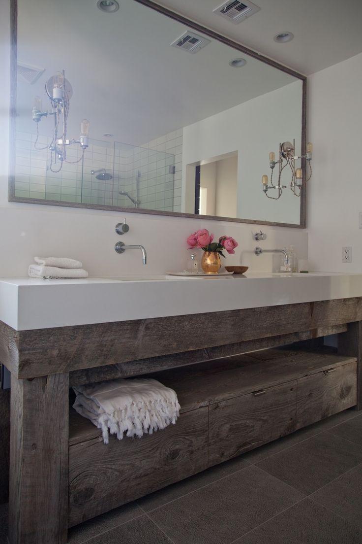 Reclaimed wood bathroom countertop - Love It
