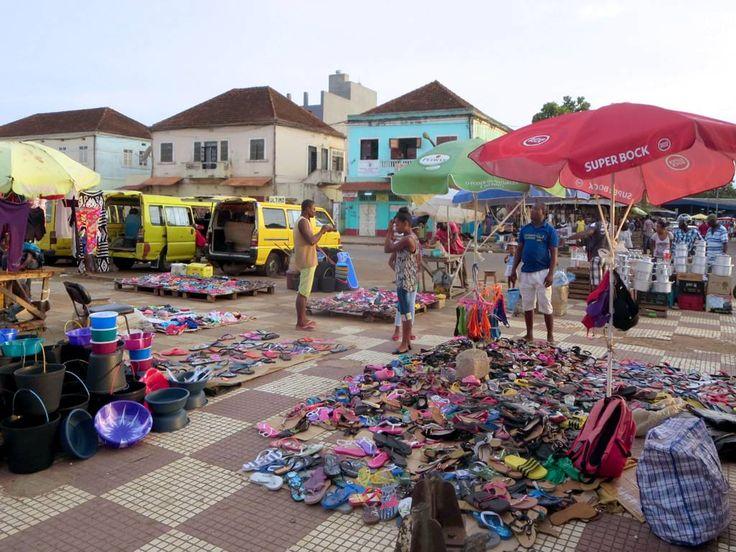 Rubber sandal merchants spread their wares on Praca Yon Gato near the main markets in Sao Tome, São Tomé and Príncipe.