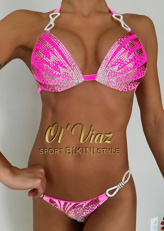 Luxury Light Pink Velvet Competition Bikini with by OlViaz on Etsy