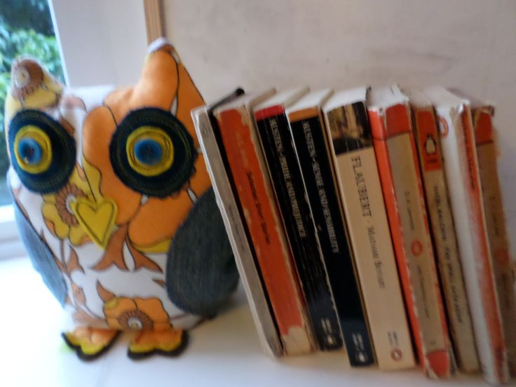 70's 'Handmade with Happiness!' owl impersonating a bookend - made from a vintage tea cosy, denim jeans/felt & Granny's buttons!