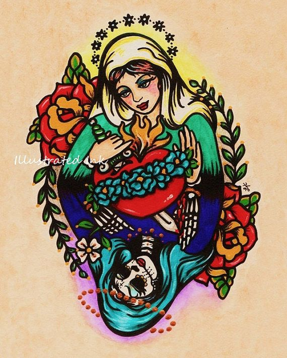Day of the Dead VIRGIN MARY Old School Tattoo Art Print 5 x 7 or 8 x 10