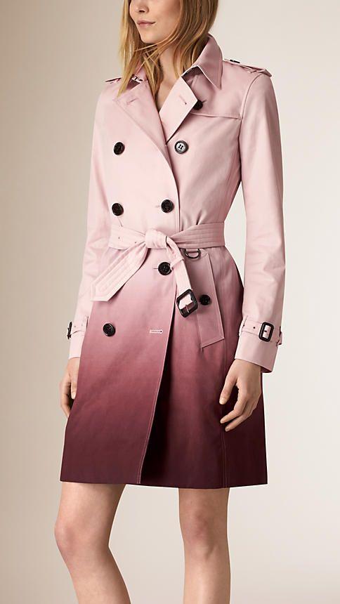 Rosa hielo/granate oscuro Trench coat en algodón con efecto degradado - Imagen 1