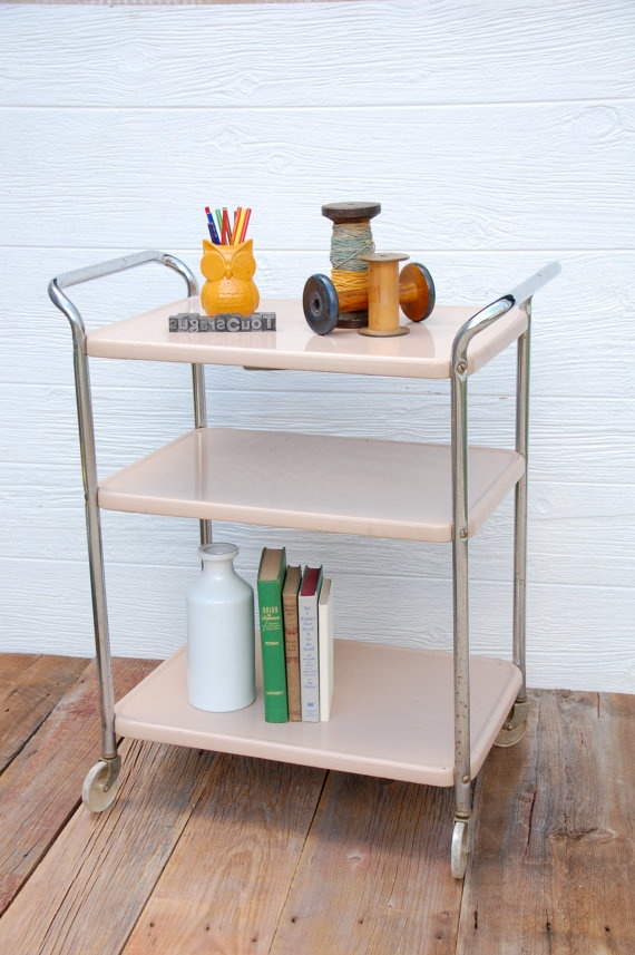 Vintage Metal Rolling Serving Cart by sugarSCOUT on Etsy, $78.00