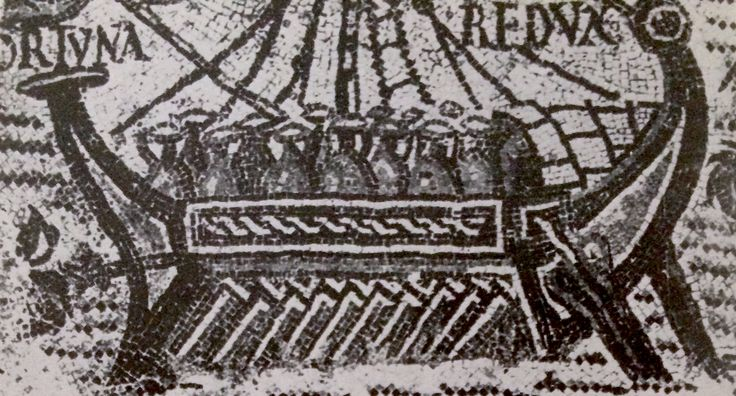 Roman merchant ship with cargo of amphorae, 2nd or 3rd century AD. Mosaic from Tebessa in Algeria. More here: https://archive.org/stream/ancientmarines006626mbp#page/n251/mode/2up