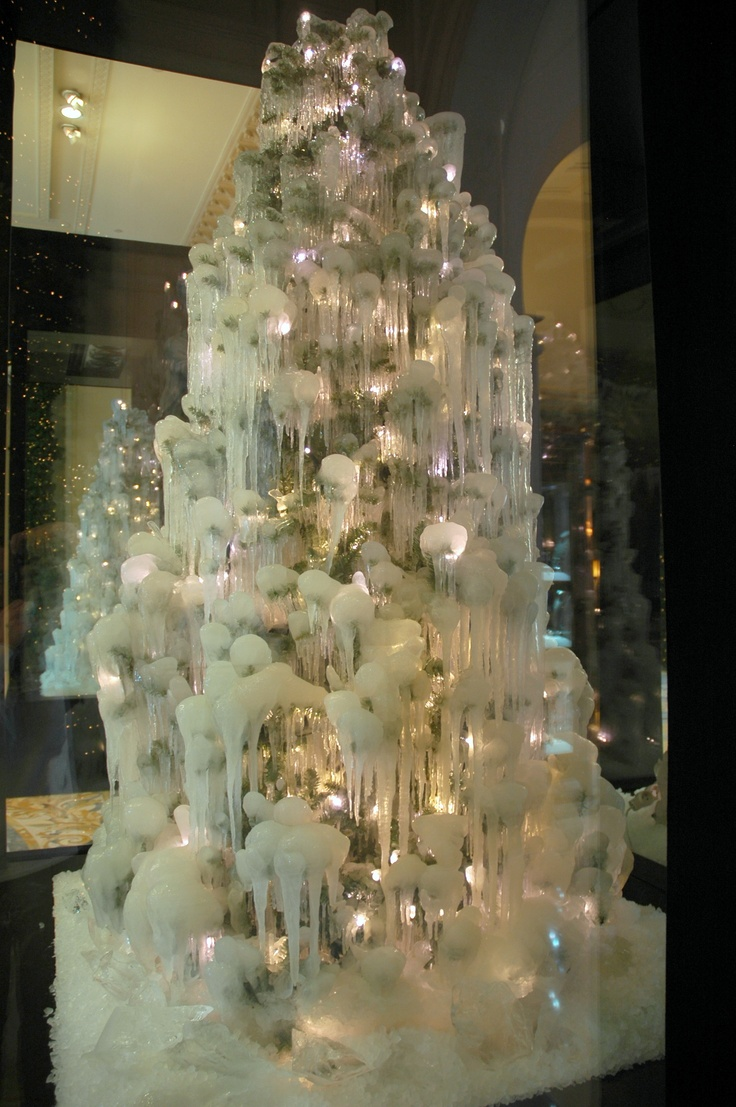Frozen Christmas Trees At @Mandy Dewey Seasons Hotel George V Paris Bring A  Cool Touch